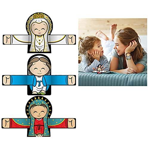 ZDDO Abrazando ángel de Pulseras, Lindo Personaje de Dibujos Animados, Anillo de Mano para niños y niñas, Regalo de Fiesta de cumpleaños 3pcs C