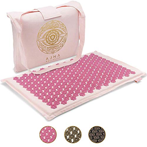 Ajna Acupressure Mat for Massage - Natural Organic Linen Cotton Acupuncture Mat & Bag - Back Pain...