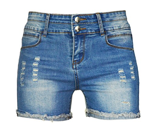 PHOENISING Women's Sexy Stretchy Fabric Hot Pants Distressed Denim Shorts,Size 2-16