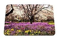 26cmx21cm マウスパッド (公園花壇花夏の木) パターンカスタムの マウスパッド