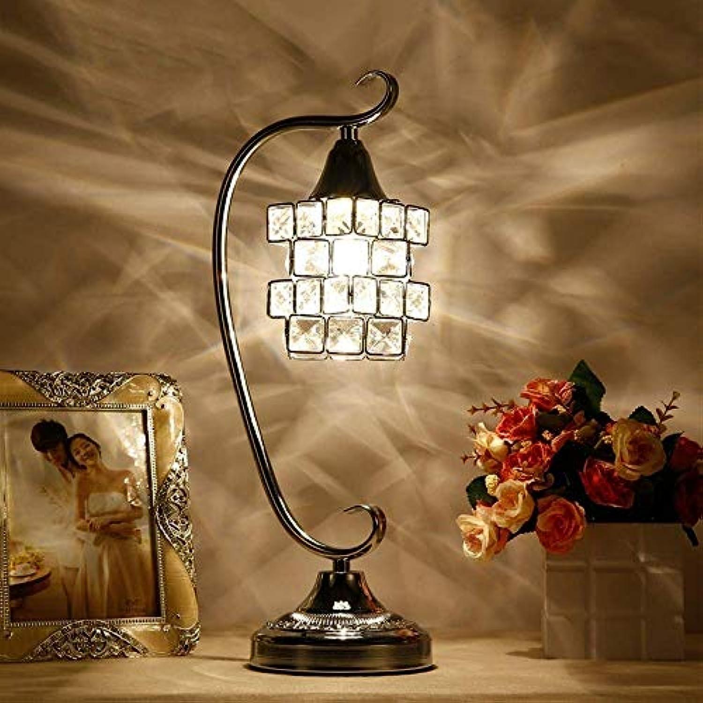 Mode einfach Kristall Tischlampe, Nachttischlampe LED Kristallglas Tischlampe Chrom Kristall Tischlampe Nordic Wohnzimmer Studie Schlafzimmer Nachttischlampe Warm und bequem