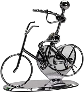 Vintage Iron Art Iron Music Man Riding Bicycle Model Handicraft Desktop Decoration