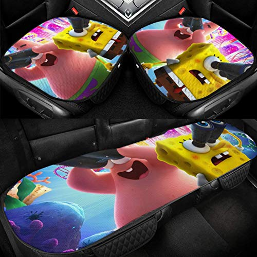 Spongebob Squarepants Art Car Seat Cushion Car Interior Seat Cover and Home Office Chair Three-Piece Comfort Ice Silk Cushion