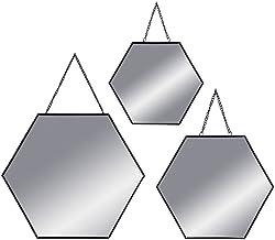 ATMOSPHERA, spiegel, wandspiegel, zeshoekig, zwart, metaal, set van 3
