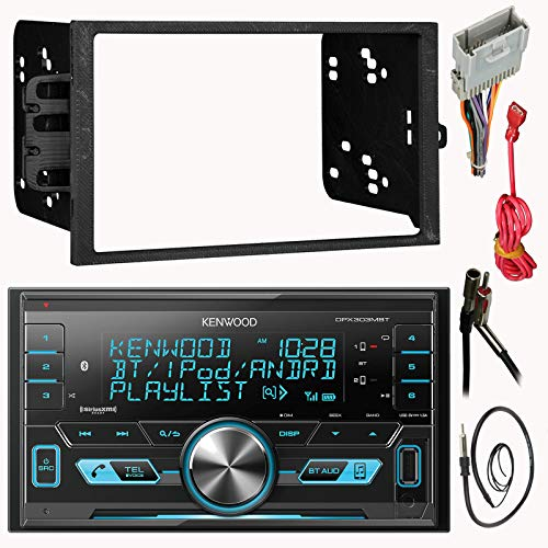 Kenwood Double 2 Din CD MP3 Car Stereo Receiver Bundle Combo with Metra installation kit for car stereo (Fits Most GM Vehicles) Wire Harness, Enrock 22' Radio Antenna with Adapter