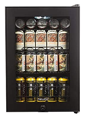 NewAir Beverage Refrigerator Cooler with 90 Can Capacity - Mini Bar Beer Fridge with Right Hinge Glass Door - Cools to 34F - AB-850B - Black