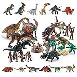 OR OR TU Juguetes de Dinosaurios Realistas para Niños Figuras de dinosaurios y criaturas prehistóricas Desmontar Huevo de Dinosaurio,Árboles,Cazadores Juego Educativo Temprano para 3 4 5 6 7 Años