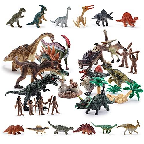 OR OR TU Dinosauro Giocattolo Realistico per Bambini Ragezzi 3-7 Anni con Smontare Uovo di Dinosauro,Alberi,Cacciatore,Prima Educazione Gioco dei Dinosauri Tirannosauro Regalo di Compleanno(30Pezzi)
