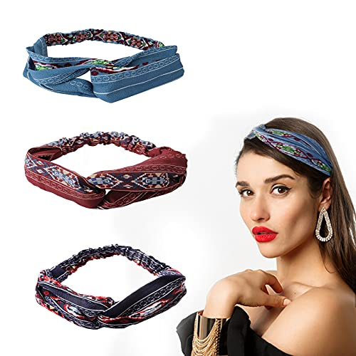 Suke Boho - 3 fasce per capelli vintage da donna, con stampa a nodi, elastici, per spa, yoga, lavaggio del viso, viaggi, per uso quotidiano (blu, bordeaux, ciano)