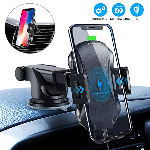 Wireless Car Charger, 10W Qi Fast Charging Auto-Clamping Car Mount,Windshield Air Vent...