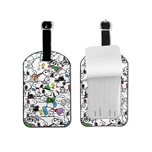 Snoopy etiqueta de equipaje elegante y exquisita, hecha de piel sintética de microfibra, apta para maleta y bolso
