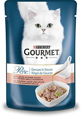 Purina GOURMET parel genot in saus, kattenvoer met een royale portie saus, natte voering voor volwassen katten, verpakking van 24 (24 x 85 g), met zalm, Lachs