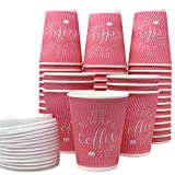 Disposable Coffee Cups with Lids - Paper Cups 12 Oz 100 Pack, Insulated No Need Sleeve for Hot Beverage, To Go for Car, Eco-Friendly Leak Proof, Resealable Lids Make Travel Safe, Party Cups (Pink)