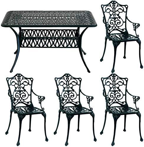 ガーデンテーブルセット 屋外 庭 テラス アルミ 鋳物 5点セット 幅132 ダークグリーン