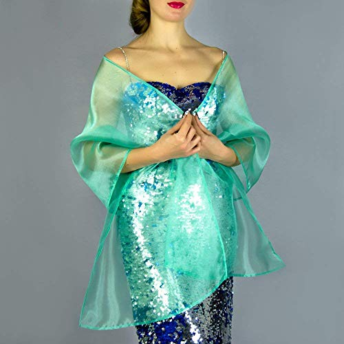Chal organza color verde turquesa azul claro novia boda novia para vestido...