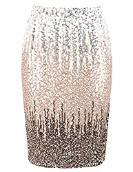 Silver/Champagne/Coffee Sequin High Waist Sparkle Pencil Skirt