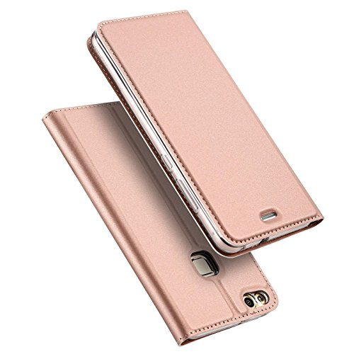 Verco Funda para Huawei P9 Lite PU Cuero Flip Folio Carcasa Soporte Plegable Ranuras para Tarjetas para teléfono móvil Huawei P9 Lite Cubierta, Rosa