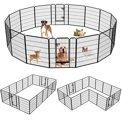 SUNCOO Dog Pen, Heavy Duty Folding Large Metal Dog Fence, Cat Puppy Rabbit Pet Exercise Playpen, Indoor Outdoor 16 Panels 40 Inches Portable Anti-Rust Yard Pet Pen Crate Cage Barrier Kennels