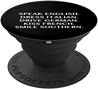 Speak English Dress Italian Drive German Kiss French - Black - PopSockets Grip and Stand for Phones and Tablets