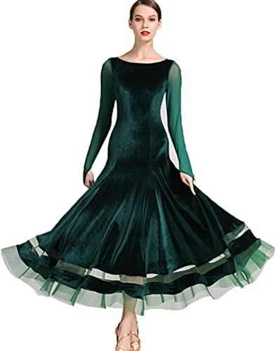 DRESSS Jupe Moderne de Danse de Madame Adulte, Robe de Pratique de Danse de Collant Standard National de Jupe de Perforhommece Jupe de Gaze