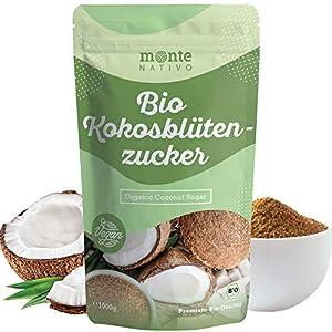 Azúcar de coco orgánica Monte Nativo 1kg (1000g) - sin refinar - alternativa de azúcar nutritiva - Azúcar de coco de primera calidad - De cultivo orgánico controlado - Vegano - Sin aditivos
