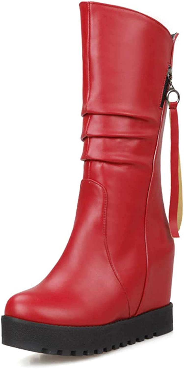 Women's Boots, Winter Wedge Snow Boots Ladies Increase Waterproof Mid Tube Fashion Keep Warm Ankle Boots (color   A, Size   38)