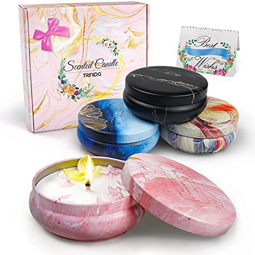 Velas perfumadas regalos para mujer, juego de velas de aromaterapia, velas de cera de coco natural, regalos para mujeres, madres, novias, día de San Valentín, día de la madre y cumpleaños (4 paquetes)