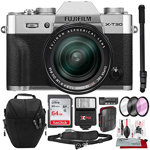 Fujifilm X-T30 4K Wi-Fi Mirrorless Digital Camera with XF 18-55mm Lens Kit - Silver with 64GB Deluxe Bundle and Travel Photo Cleaning Kit