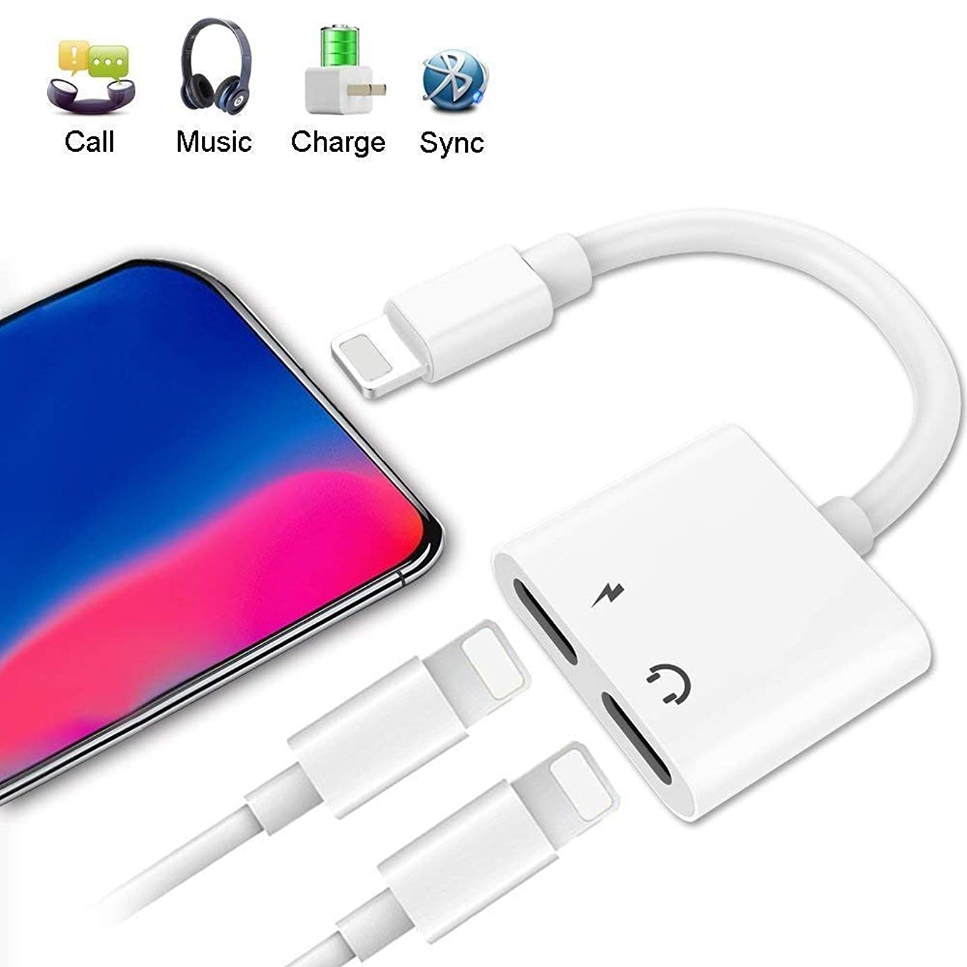 Lighting Splitter Adapter, 2-in-1 Dual Lighting Headphone Audio and Charge Adapter, Compatible Phone 7/8 / X/XS/XR/XS MAX.(Compatible iOS 11, iOS 12 White)