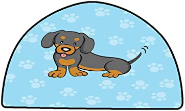 Floor Entrance Rug Dachshund,Puppy Cartoon with Happy Expression on Its Face Paw Print Background,Blue Brown Dark Taupe,W31 x L20 Half Round Multi-Color Modern Area Rug