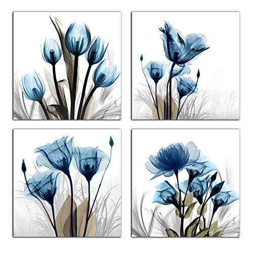 """Flower Canvas Prints Wall Art Decor 4 Panels Blue Elegant Tulip Artwork Simple Life Picture for Living Room Bedroom Home Salon SPA Wall Decoration 12"""" x 12"""" 4 Pieces"""