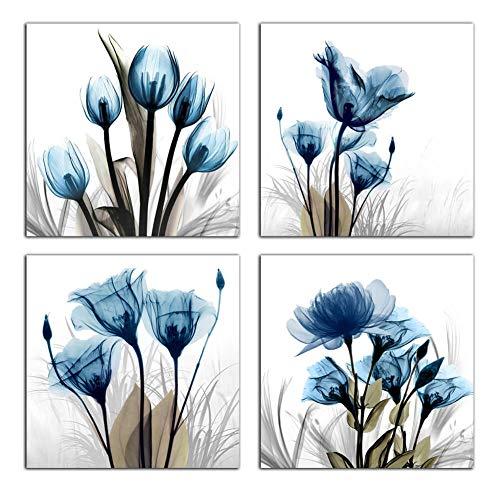 Flower Canvas Prints Wall Art Decor 4 Panels Blue Elegant Tulip Artwork Simple Life Picture for...