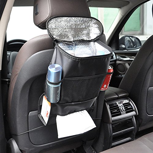 Juvale Car Garbage Can Black Detachable Garbage Bin for Car with 2 Backseat Hooks Automobile Trash Can Diameter of 5.9 Inches and Height of 7.56 Inches Collapsible Trash Container for Autos