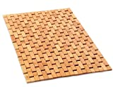 Natural Bamboo Wood Bath Mat: Wooden Door Mat/Kitchen Floor Rug - Bathroom Shower and Tub Mats