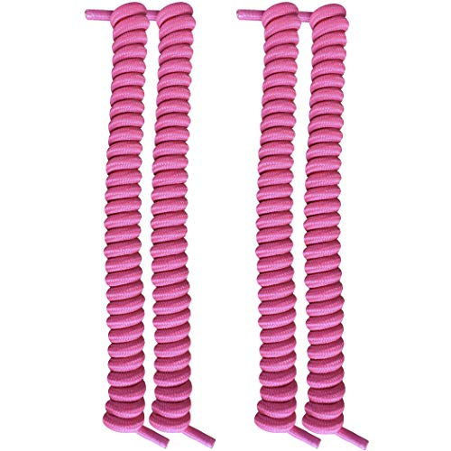 FootMatters No Tye Shoelaces Elastic Curly Stretchy For Kids and Adults - Pink - 2 Pairs