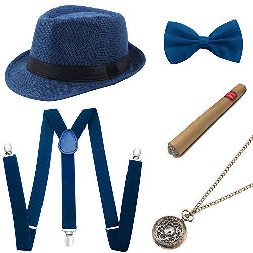 Coucoland 1920s Herren Accessoires Mafia Gatsby Kostüm Set inklusive Panama Gangster Hut Verstellbar Elastisch Hosenträger Herren Halsschleife Fliege Taschenuhr und Plastik Zigarre (Blau)