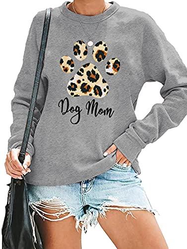 Dog Mom Sweatshirt Women Funny Leopard Print Dog Mama Shirt Cute Graphic Tee Dog Lover Letter Print Long Sleeve Tee Tops Light Grey