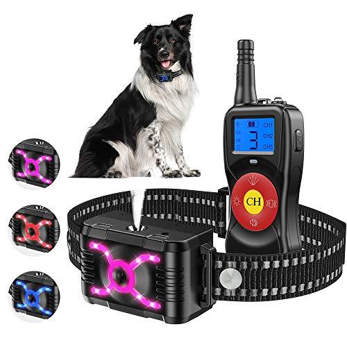 Collare Cane, Ricaricabile Collari Per Cani Da Addestramento, Telecomando Collare Antiabbaio Per Animali Domestici Con Segnale Acustico spray luce vibrazione, Collare Addestramento Cane