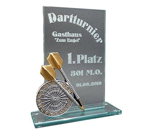RaRu Dart-Glaspokal Resin-Figur mit Lasergravur Nach Wunsch