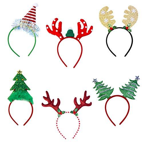 Weihnachten Stirnbänder 6 Weihnachten Stirnband SÁrbol De Navidad Pelo De Reno Kopfschmuck Weihnachten Kostüm Dress up Haarschmuck für Mädchen Kinder Frauen Party Feier Maskerade Festliche Dekoration