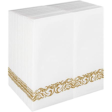 100 Pack White and Gold Soft Absorbent Decorative Disposable Bathroom Napkins