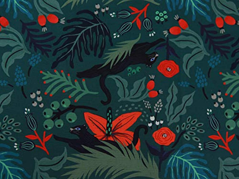 COTTONVILL MallangLuna Floral Forest Collection Cotton Quilting Fabric 3YD (Jaguar-2)