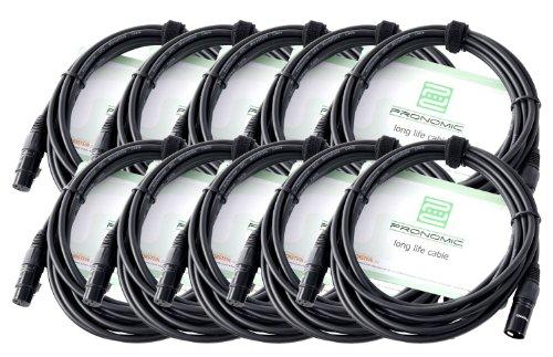 Pronomic Stage XFXM -5 Cavi per microfono XLR 5 m nero, Kit con 10 cavi