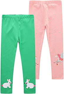 Girls Leggings 3-Pack Set Cotton Casual Solid Stripe...