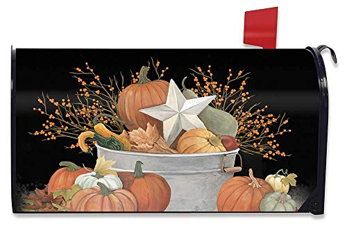 OURLOVE Fall Bushel Primitive Magnetic Mailbox Cover Pumpkins Star Pip Berries 21'(L) X 18'(W)
