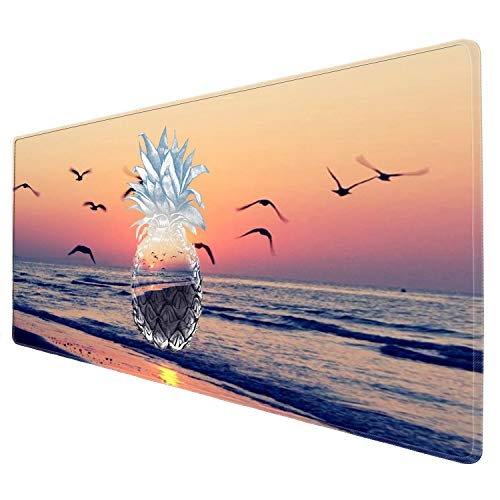 Galdas Gaming Mouse Pad XXL XL Large Mouse Pad Long Extended Mousepad Desk Pad Non-Slip Rubber Mice Pads Stitched Edges Thin Pad (31.5x11.8x0.08 Inch) (Seaside Pineapple)