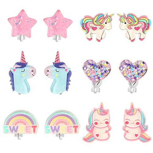 PowerKing Clip On Earrings for Girls, Girls Jewelry Dress Up Earrings and Princess Play Earrings Set for Kids, 6 Pairs, Unicorn Bling (new unicorn 6 set)