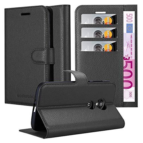 Cadorabo Hülle für Motorola Moto E5 Play in Phantom SCHWARZ - Handyhülle mit Magnetverschluss, Standfunktion & Kartenfach - Hülle Cover Schutzhülle Etui Tasche Book Klapp Style