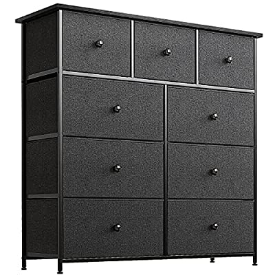 REAHOME 9-Drawer Dresser Storage Tower Unit Storage Vertical Sturdy Steel Frame Wooden Top Removable Fabric Bins for Bedroom Hallway Entryway Closets Office Organization(Black)