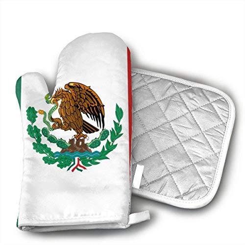 Ovenmitts And Potholders,Lustige Druckhandschuhe Und Topflappen Der Mexiko-Flagge Für Das Grill-Backen